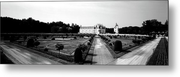 Formal Garden In Front Of A Castle Metal Print