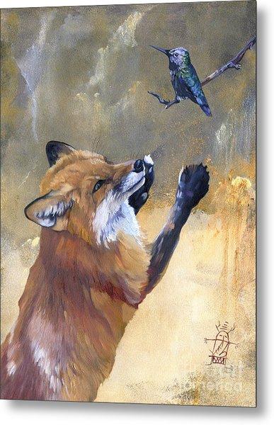 Fox Dances For Hummingbird Metal Print