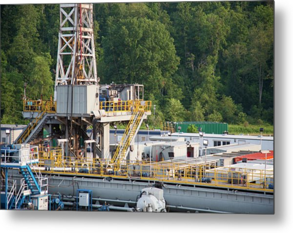 Fracking Drill Rig Metal Print by Jim West