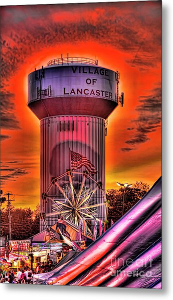 Glowing Water Tower Metal Print