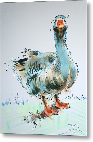 Goose Drawing Metal Print