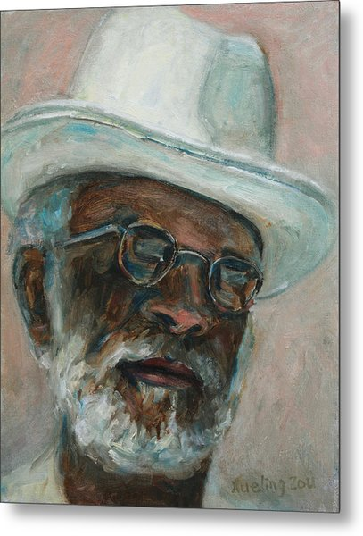 Gray Beard Under White Hat Metal Print