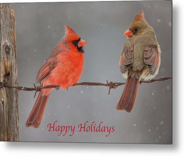 Happy Holidays Cardinals Metal Print