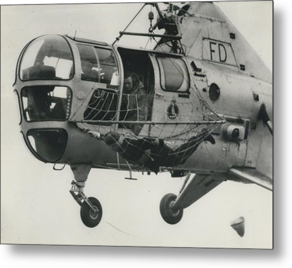 Helicopter Rescue - Royal Navy Adopts New Apparatus Metal Print by Retro Images Archive
