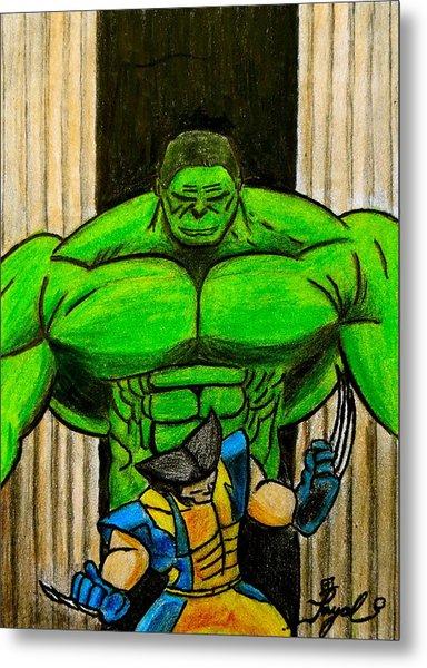 Hulk Vs Wolverine Metal Print by Artistic Indian Nurse