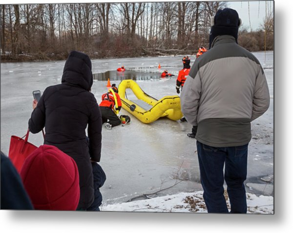 Ice Rescue Demonstration Metal Print by Jim West/science Photo Library