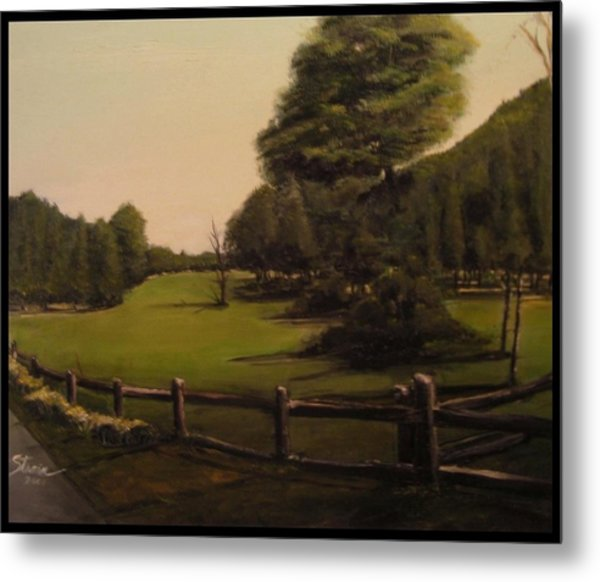 Landscape Of Duxbury Golf Course - Image Of Original Oil Painting Metal Print
