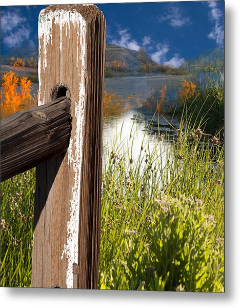 Landscape With Fence Pole Metal Print