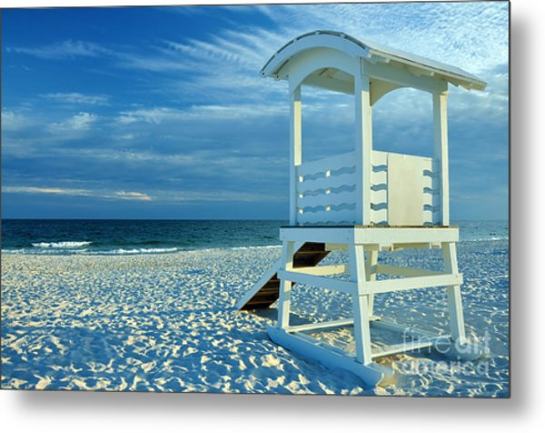 Lifeguard Hut On Beach Metal Print