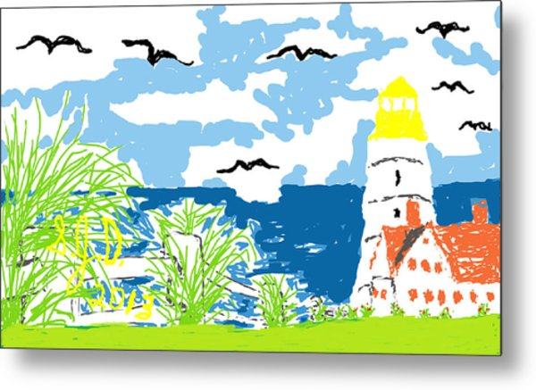 Lighthouse By The Sea Metal Print by Joe Dillon
