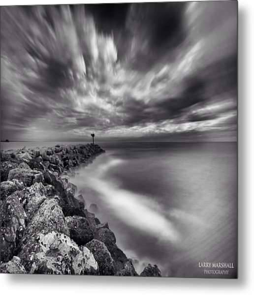 Long Exposure Sunset At The Oceanside Metal Print