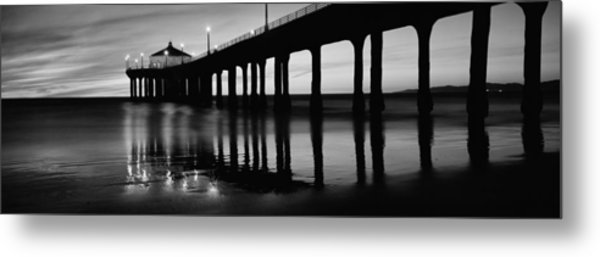 Low Angle View Of A Pier, Manhattan Metal Print
