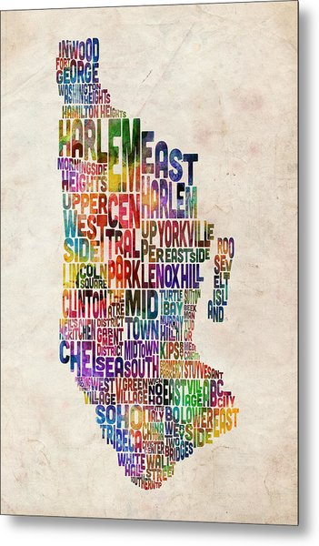 Manhattan New York Typographic Map Metal Print