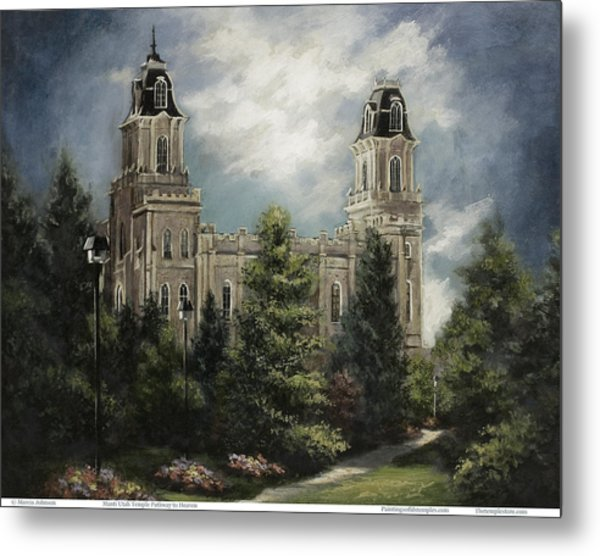 Manti Utah Temple-pathway To Heaven Pastel Metal Print