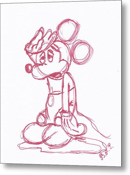 Mickey Mouse Sketch Metal Print