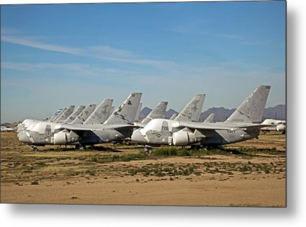 Military Aircraft In Salvage Yard Metal Print by Jim West