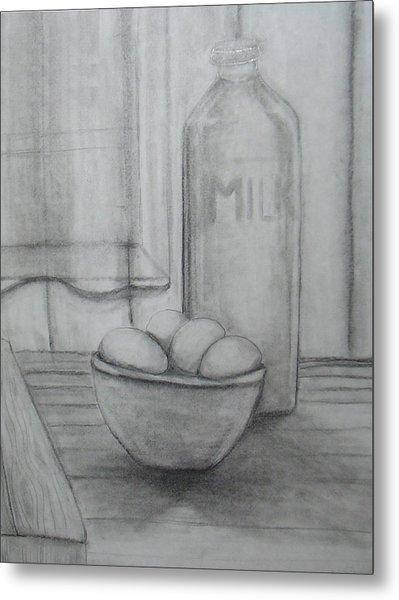 Milk And Eggs Metal Print