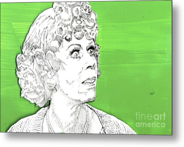 Momma On Green Metal Print
