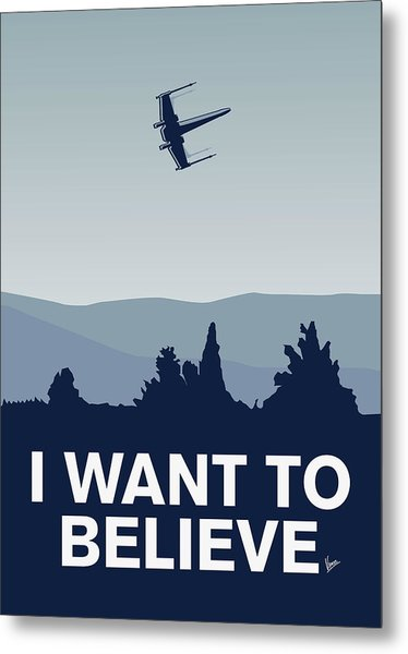 My I Want To Believe Minimal Poster-xwing Metal Print
