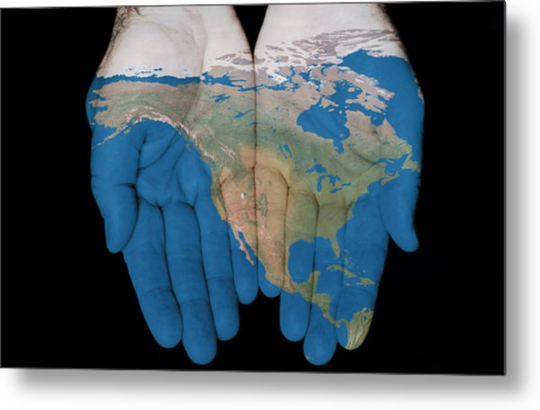 North America In Our Hands Metal Print