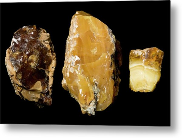 Opaque Amber Metal Print by Pascal Goetgheluck/science Photo Library