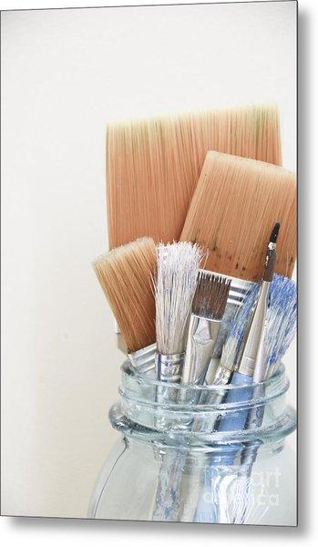 Paint Brushes In Jar Metal Print