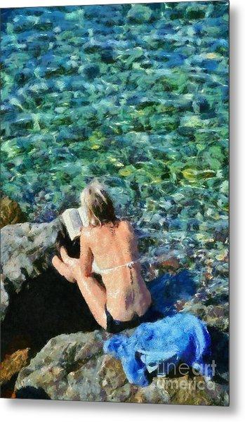 Painting Of Woman In Hydra Island Metal Print