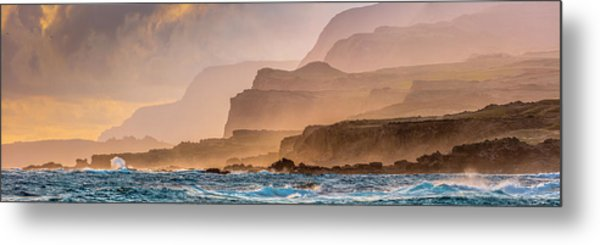 Panoramic Of Molokais North Shore Sea Metal Print