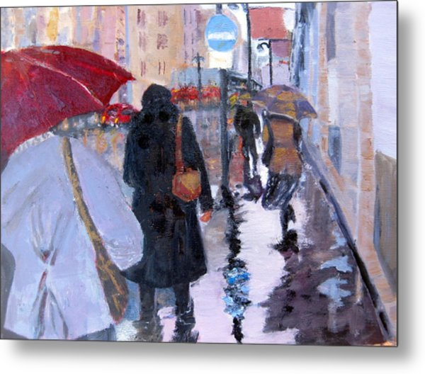 Paris In The Rain Metal Print