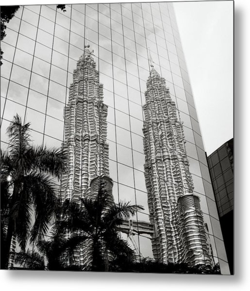 Petronas Towers Reflection Metal Print
