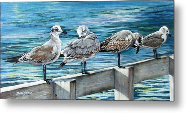 Pier Gulls Metal Print