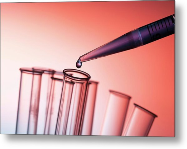 Pipette And Test Tubes Metal Print