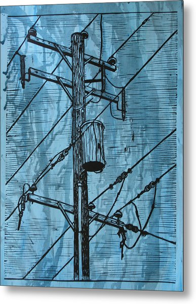 Pole With Transformer Metal Print