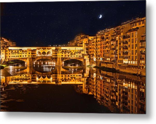 Ponte Vecchio Nightscape Metal Print