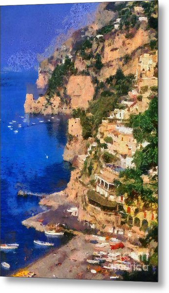 Positano Town In Italy Metal Print