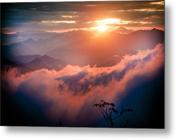 Red Sunset Himalayas Mountain Nepal Metal Print