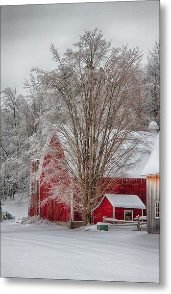 Red Vermont Barn Metal Print