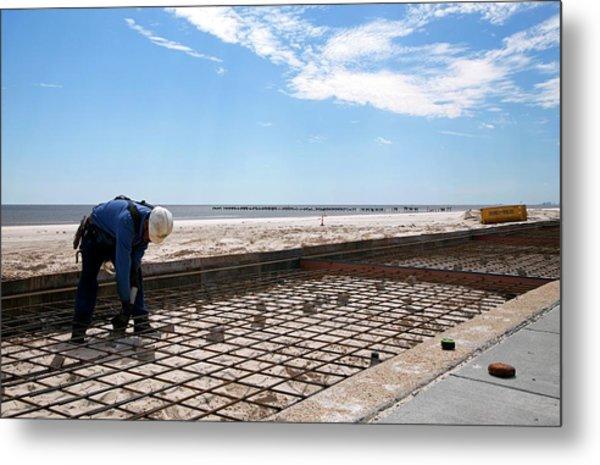 Repairing Hurricane Katrina Damage Metal Print by Jim West