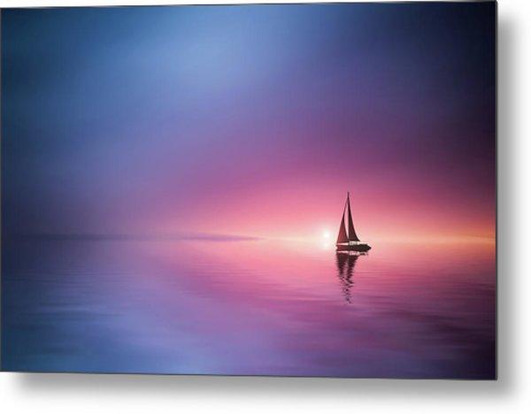 Sailing Across The Lake Toward The Sunset Metal Print