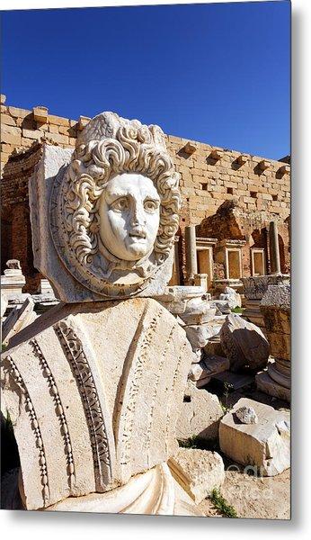 Sculpted Medusa Head At The Forum Of Severus At Leptis Magna In Libya Metal Print