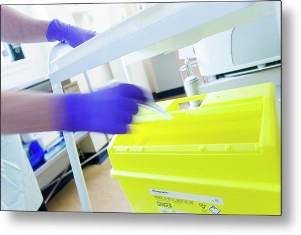 Sharps Bin Metal Print by Gustoimages/science Photo Library