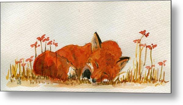 Sleeping Red Fox Metal Print