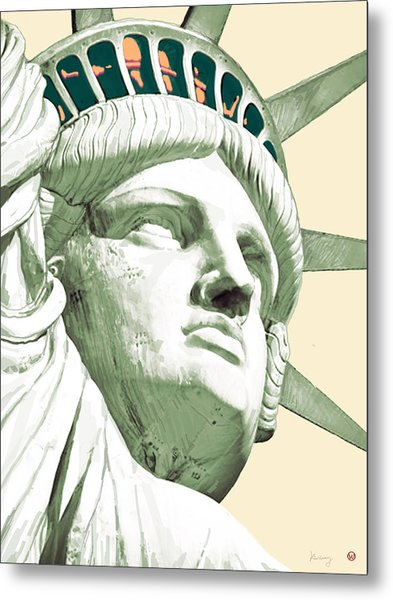 Statue Liberty - Pop Stylised Art Poster Metal Print
