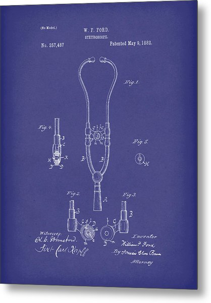 Metal Print featuring the drawing Stethoscope 1882 Patent Art Blue by Prior Art Design
