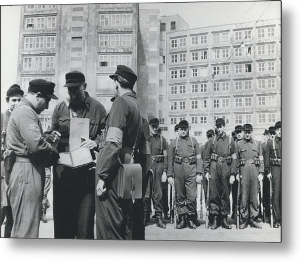 Street Fights In East Berlin Metal Print by Retro Images Archive