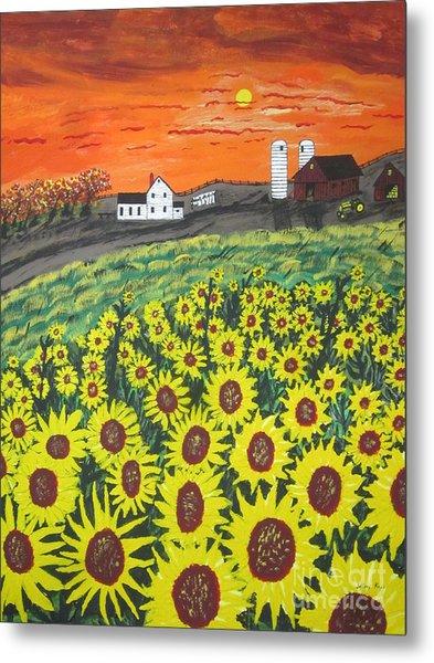Sunflower Valley Farm Metal Print