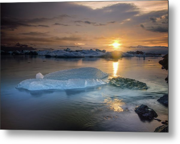 Sunset Over Glacier Bay In Iceland Metal Print