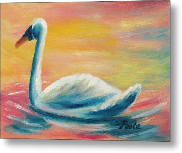 Swan At Sunset Metal Print