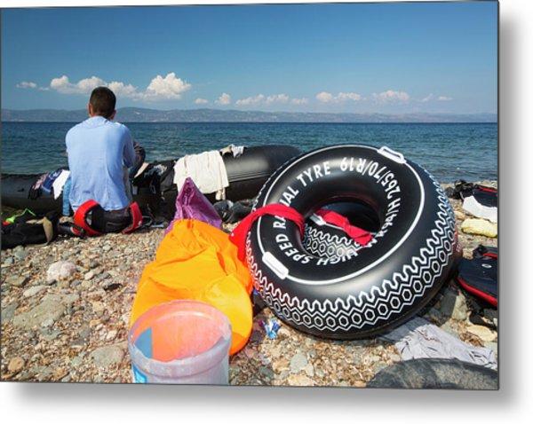 Syrian Refugees Arriving On Greek Island Metal Print