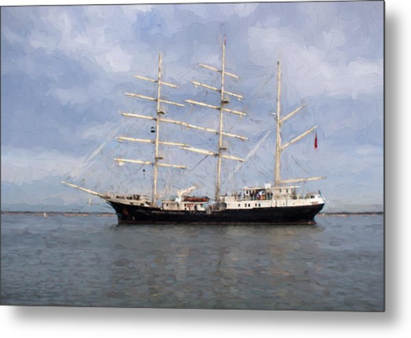 Tall Ship At Anchor Metal Print by Colin Porteous